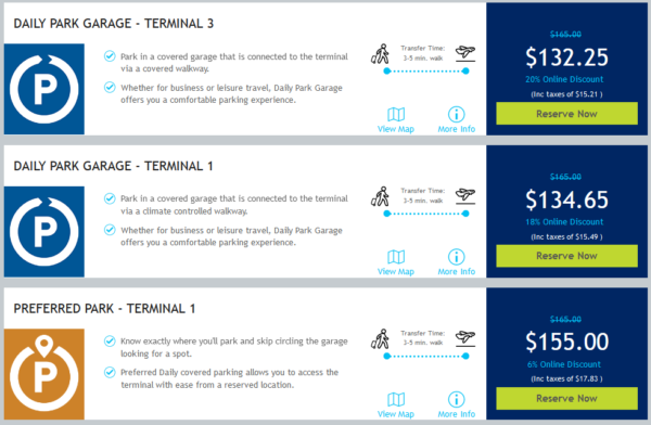 Screenshot of different parking options on Toronto Parking site, showing terminal 1 and 3 parking prices and options for duration of 1 week.