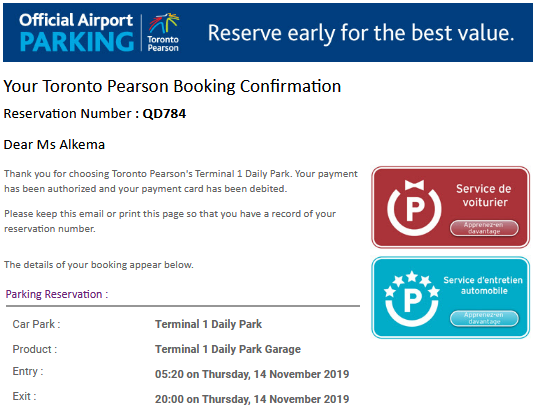 Screenshot of email confirmation for Toronto Pearson parking, with reservation details and code for reference