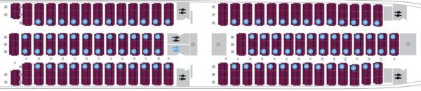 A Qatar Airways A350 seat map