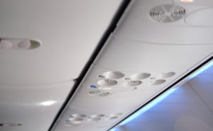 overhead console in aircraft cabin interior