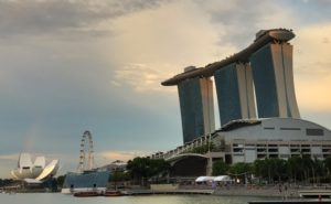 A photo of the famous Marina Bay Sands hotel in Singapore