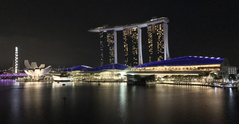 A nighttime view of Singapore's famous Marina Bay Sands hotel.