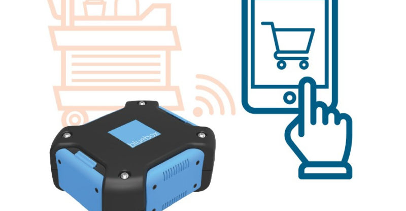 An image showing the Bluebox wireless IFE unit, and a shopping cart with a hand pointing at the shopping cart