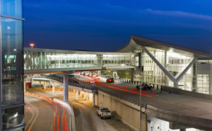 William P.Hobby Airport external view of bridge and entrance.