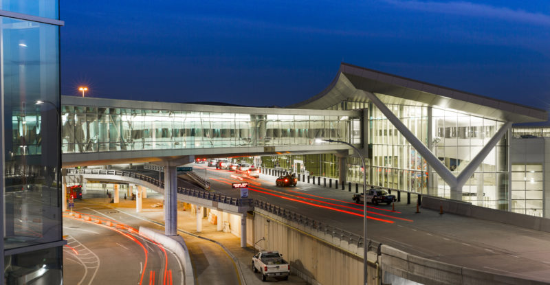 William P. Hobby Airport external view of bridge and entrance.