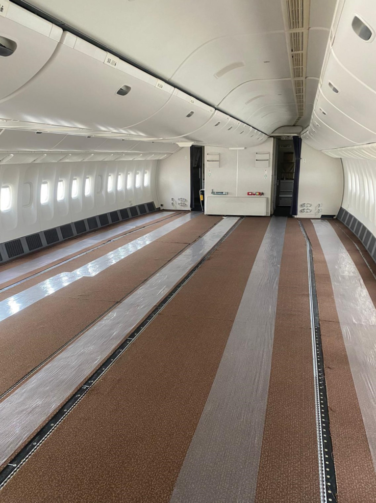 Empty aicraft with all seats removed