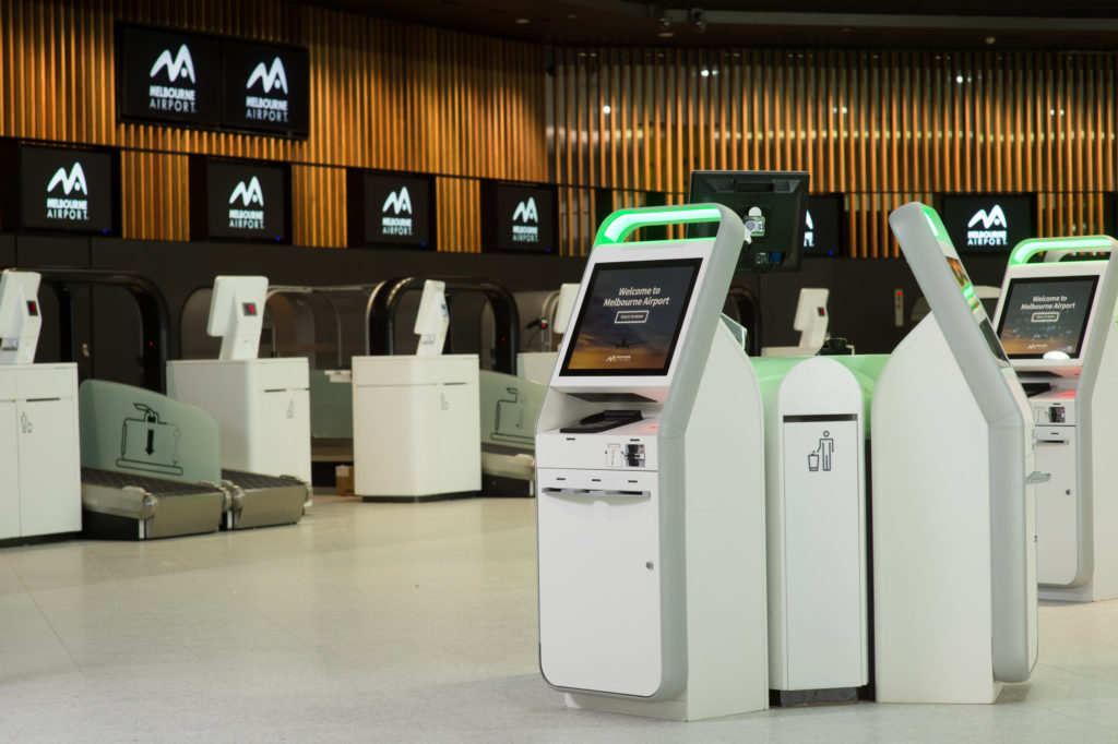 Kiosks and bag drop machines at Melbourne AIrport