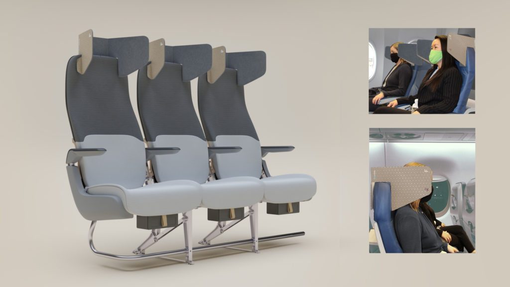 An image of the HeadZone cardboard solution attached to a seat triple, plus side views of the product.