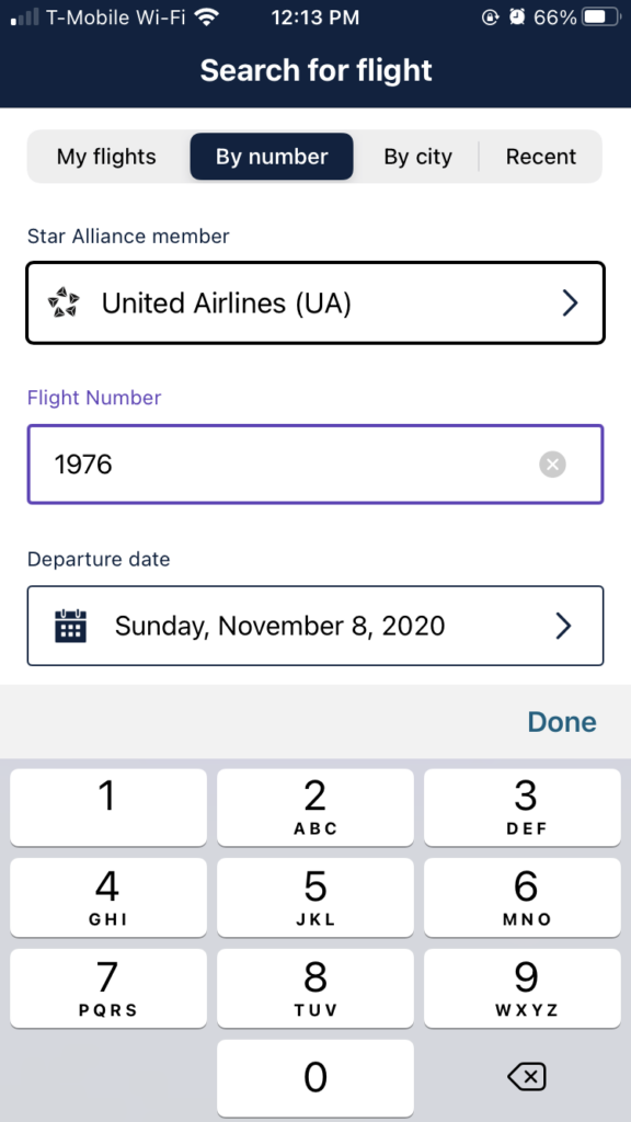 "The ""Flight Search"" page, which allows the user to plug in their flight number and departure date for more information. It has a dark bluish black color at the top, with the words ""search for flight in white""."