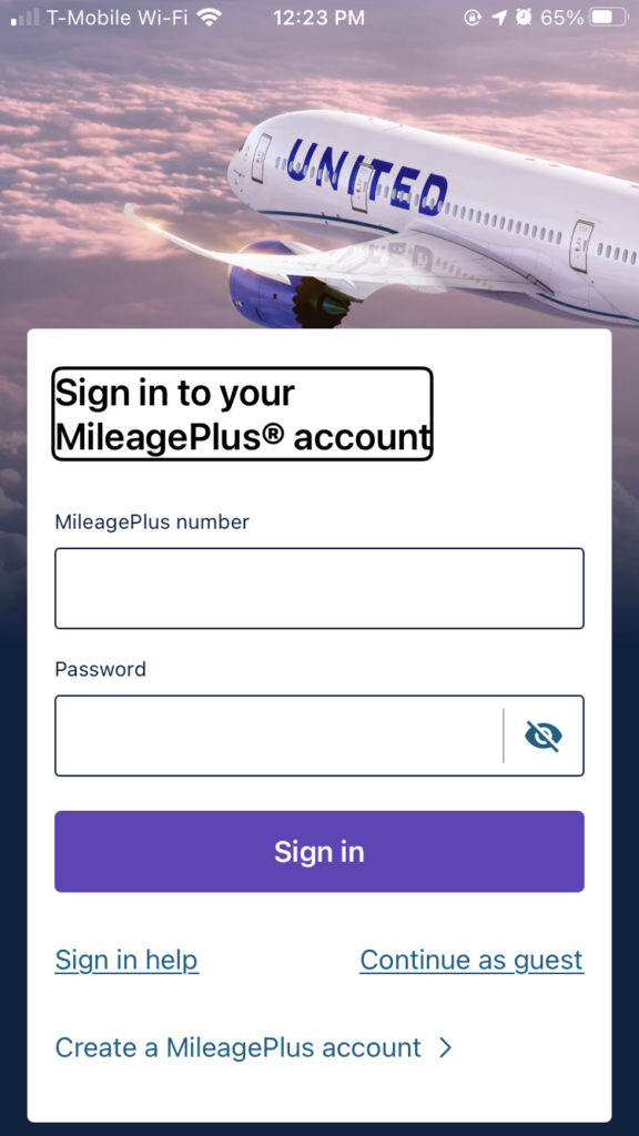 The landing page to sign in to the United MileagePlus account. The page shows a United 787 flying over fluffy clouds with a pink hue on the horizon