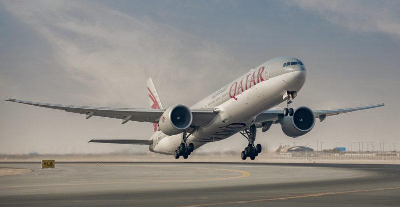A Qatar Airways Boeing 777 taking off