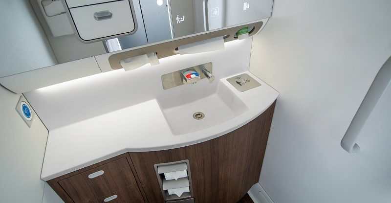 Safran aircraft lavatory with sink, mirror, vanity and touchless handwashing technology