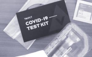 Vault COVID 19 test kit pamphlet and swab