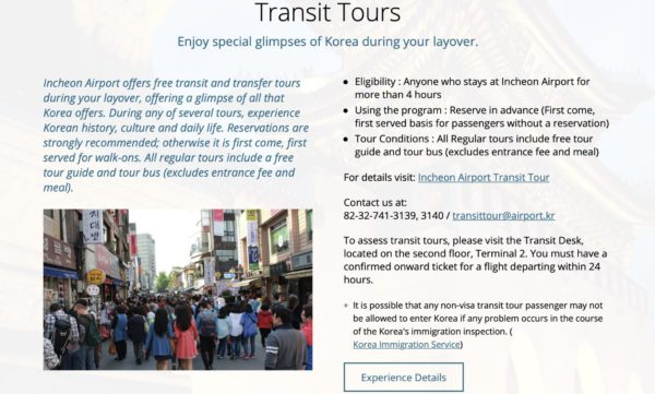 A brochure for transit tours in Korea