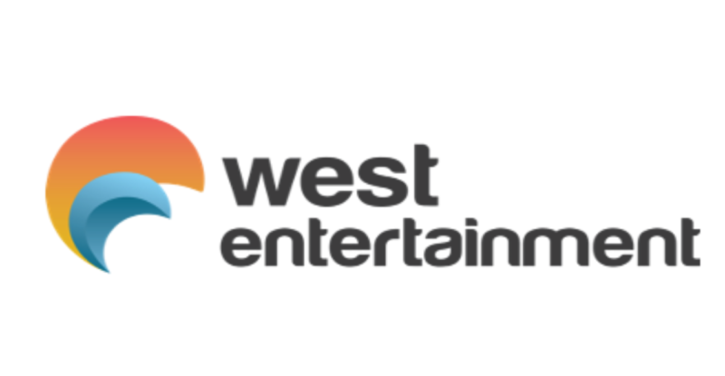 West Entertainment logo with a or and blue crescent