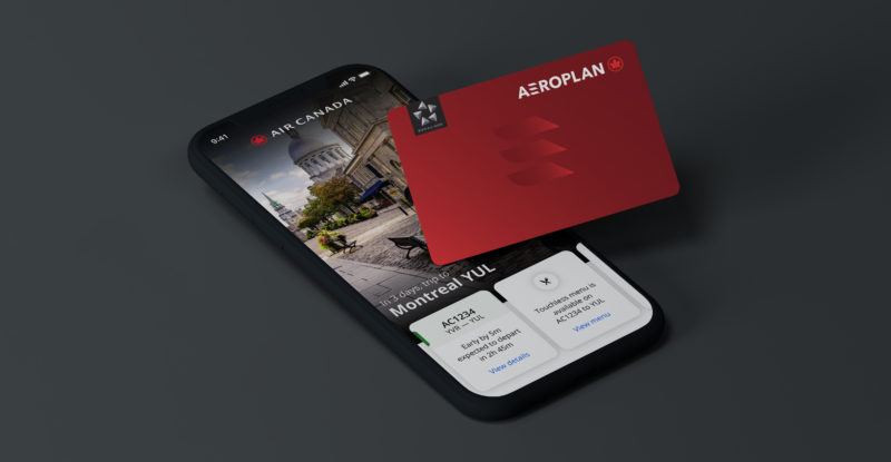 Red Aeroplan card alongside a cellphone showing the aeroplan app.