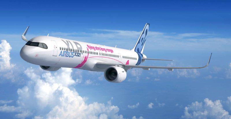A photo o f the Airbus A321XLR in-flight
