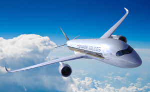 The Singapore Airlines includes a gold and blue color scheme with a kris bird logo on the tail