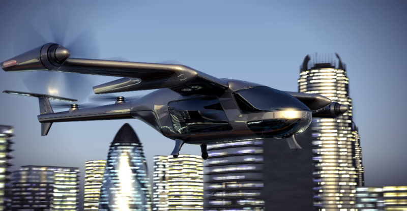 electric aerial vehicle with sencoc city skyline in the background