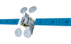 Rendering of the Viasat 3 satellite on a white background