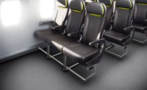 BL3530 seat mock up on aircraft in black with aircraft windows shining on them