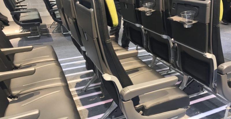 Rows of Recaro BL3710 seats, as seen on the Aircraft Interiors Expo show floor