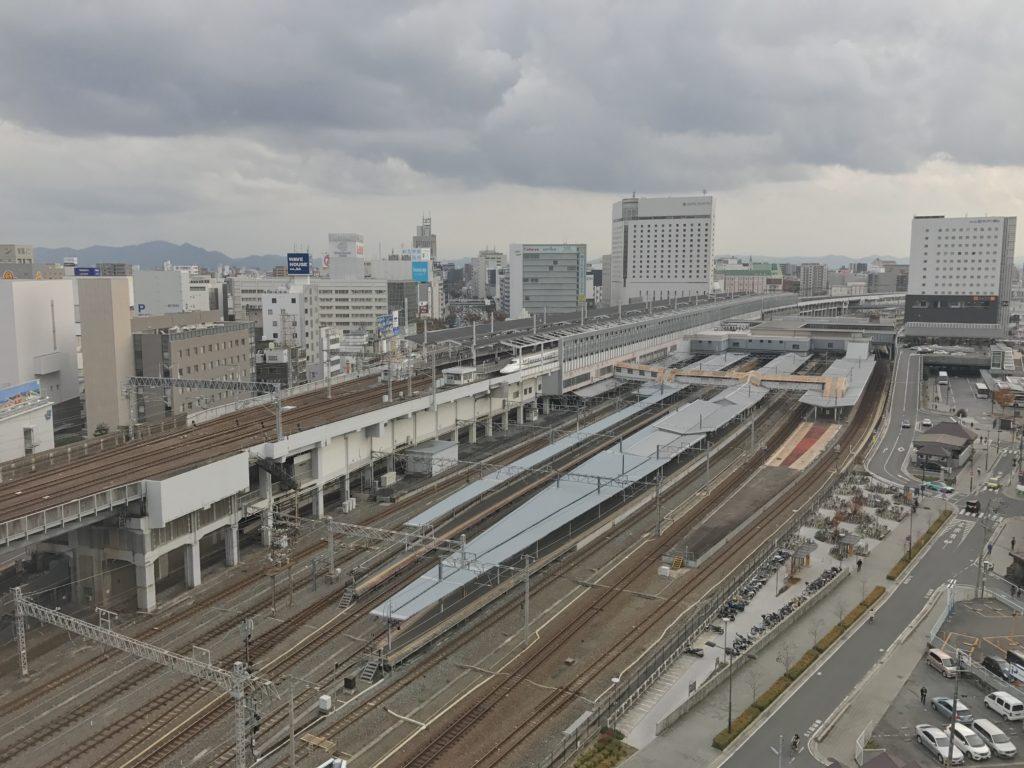 Rail lines with the backdrop of an Okayama city scene