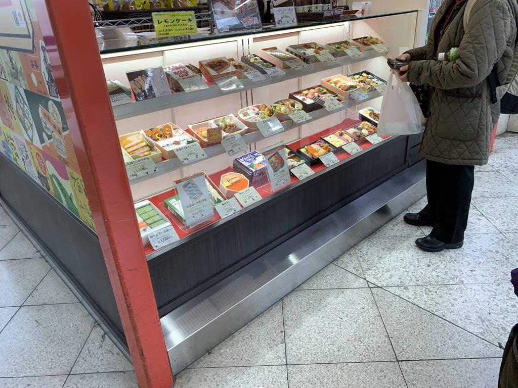 A bento box display at a small shop