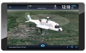 Helicopter on screen over a 3d map being displayed on a tablet