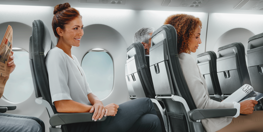 Female passengers seated in the Recaro SL3710 seat, one behind the other in the aisle seat