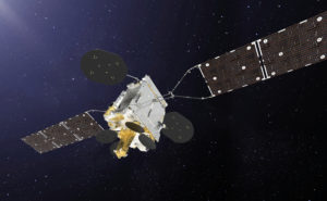 Inmarsat GX 5 Satellite in orbit with dark blue sky