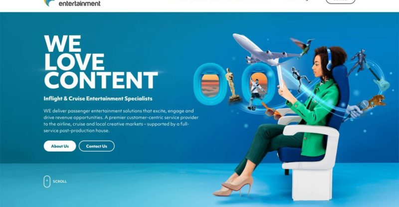 landing page for website with blue background and cartoon woman sitting in aircraft seat with