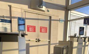 Biometric boarding station at SFO Airport gate