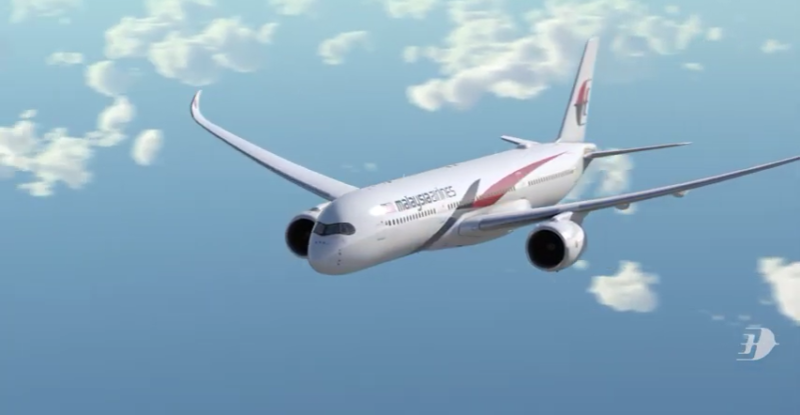 Malaysia Airlines aircraft in flight with a blue sky and scattered white clouds