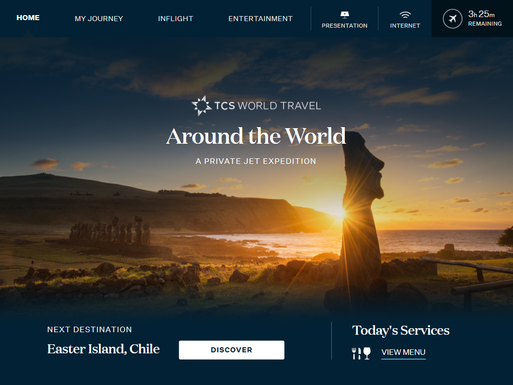 How the front page of the GUI looks when tailored for TCS World Travel; it is clean and smart, and features the image of Easter Island