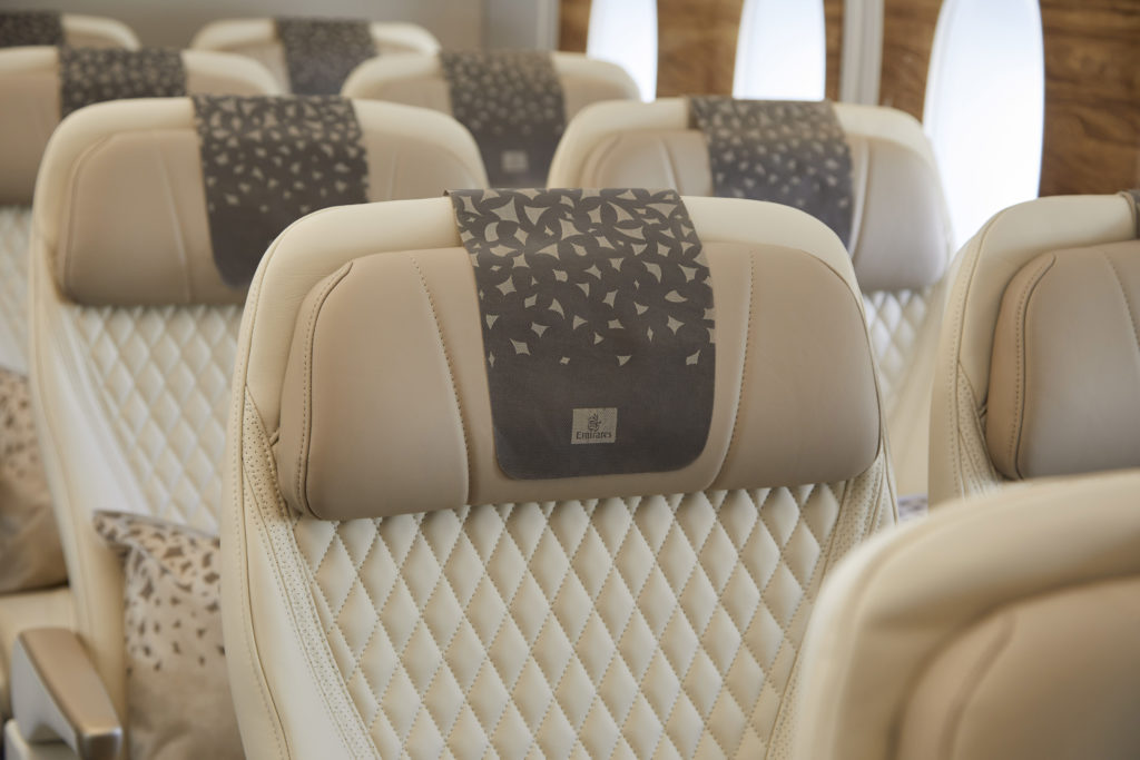 The headrest antimacassar is shown, featuring the ghaf tree design. Diamond stitching on the seat cover adds a very premium look and feel