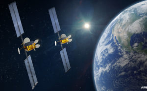 Two software-defined OneSat satellites in orbit, with an image of earth alongside them