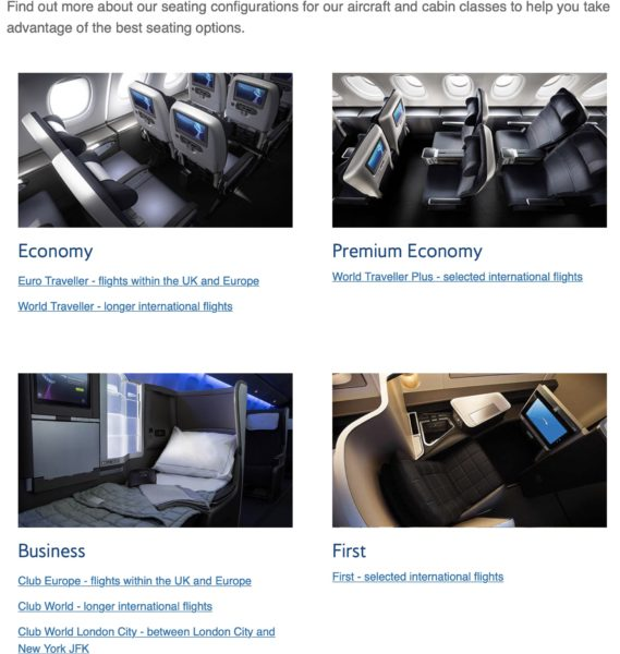 BA's online cabin class explainer which shows only the best seats on offer
