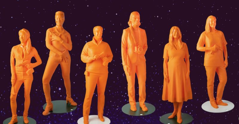 Orange, 3D statues of contemporary women in aviation, as seen through 9 March at Dallas Love Field. A starry sky is shown as a backdrop to the statues in this promotional image.