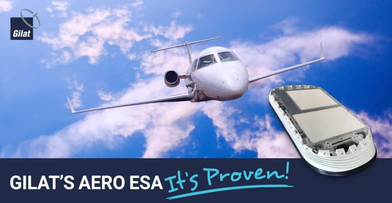 Gilat aero esa advertisement with a business aircraft in the background with a blue sky and some clouds. An antenna in the foreground.