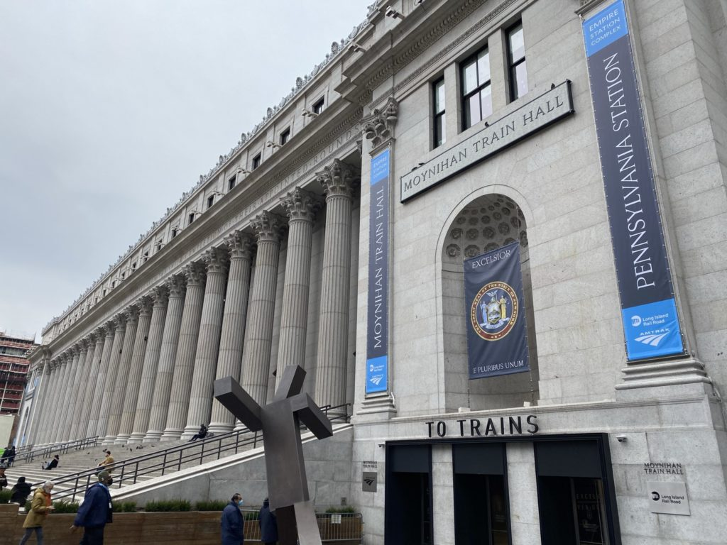 The outside of the Moynihan Train Hall offers an impressive entrance to passengers