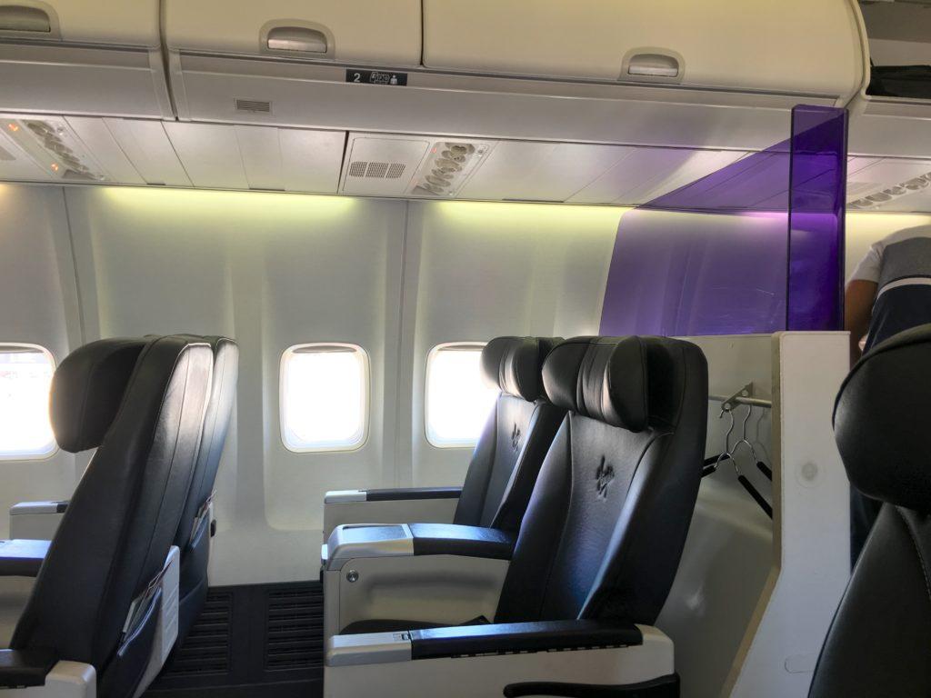 Recliners in business class aboard Virgin Australia's 737-800