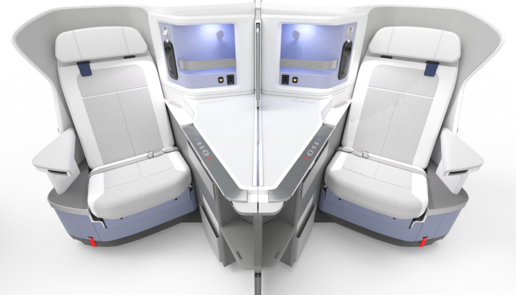 The Pristine seat is shown with whites, greys and blues to emphasize the antimicrobial properties of the seat