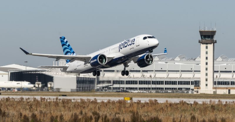 JetBlue A220-300 inaugural test flight taking off from runway