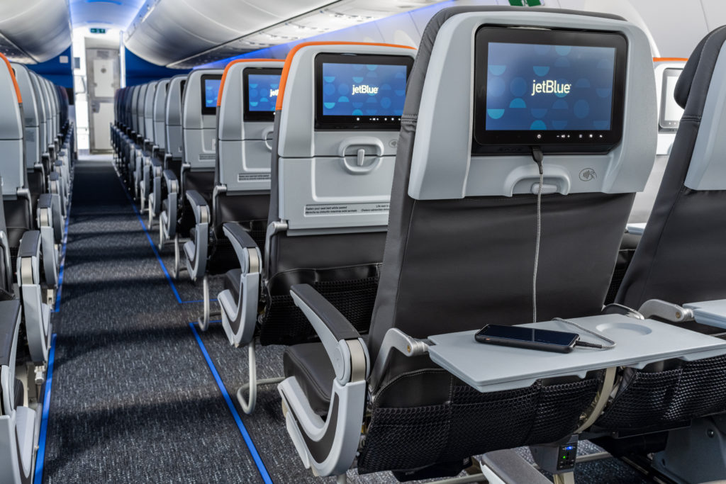 A close-up of the seatback IFE on board JetBlue's A220