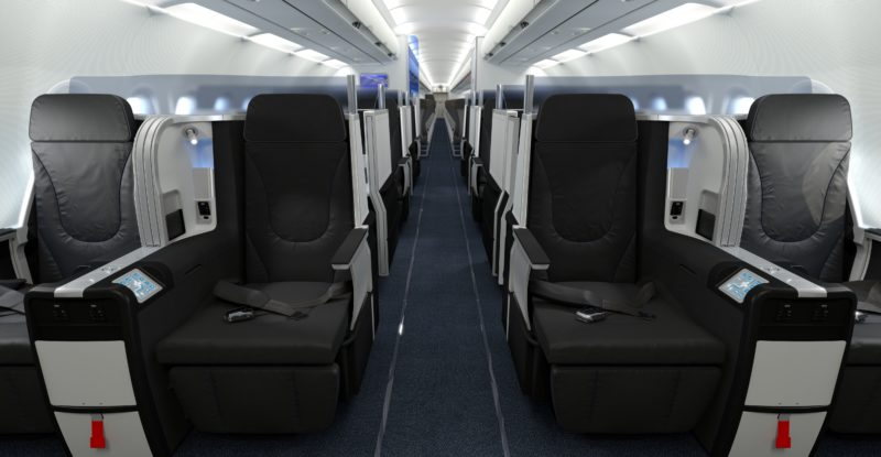 A head-on view of the JetBlue Mint cabin