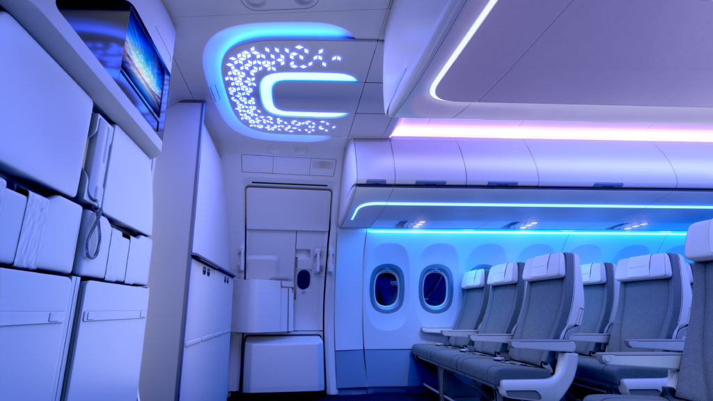 The entrance to an A320 with Airspace cabin featuring blue, pink and purple LED lights, and projected designs on the ceiling