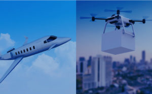 images of a business aircraft in flight and a drone carrying a box