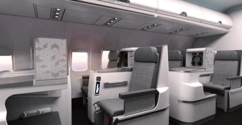A side view of the the fully flat Allegra business class seat