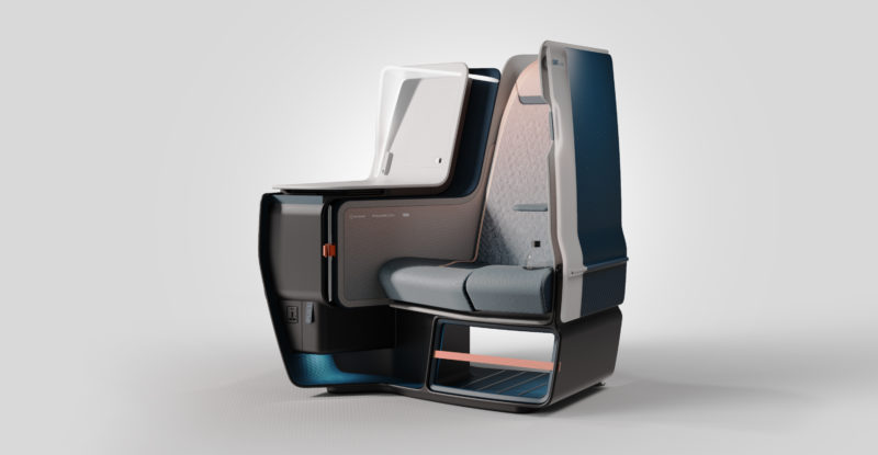 The Airtek business class seat concept, as envisaged by JPA Design, featuring different athleisure seat fixtures such as coat hooks and retaining straps